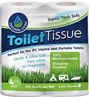 Septic Tank Safe Toilet Tissue (2-Ply, 4 Rolls) - Toliet Paper For Caravan RV Camping Marine Hiking - Biodegradable Rapid ...
