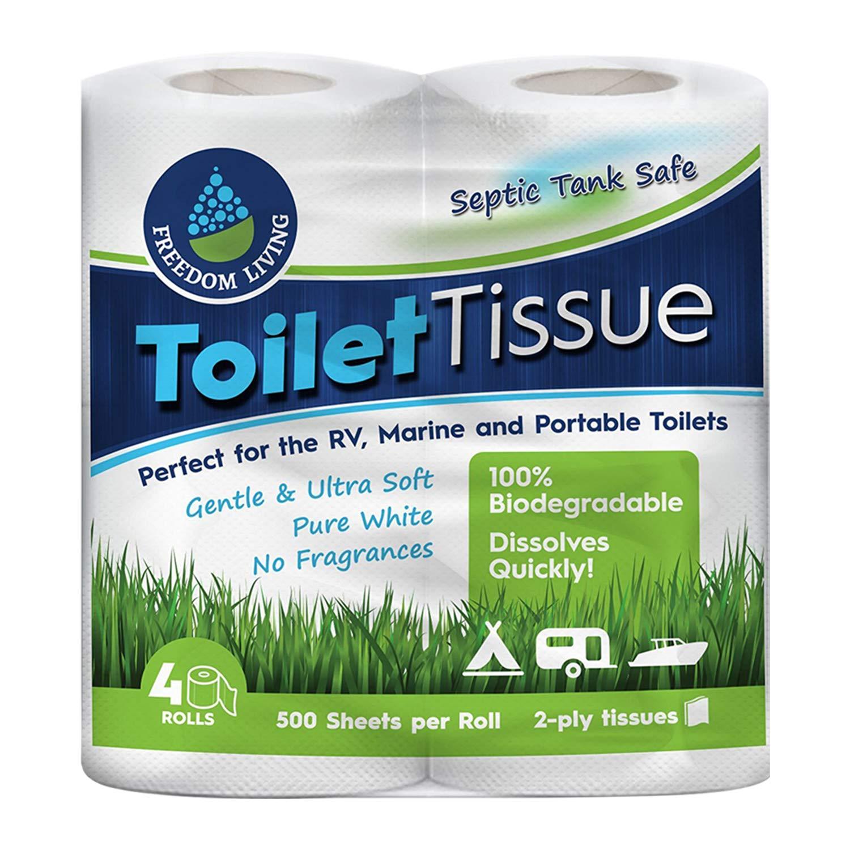 Papel higiénico inocuo para fosas sépticas (2 capas, 4 rollos ...