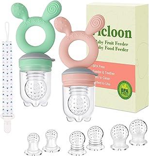 Vicloon Fruitzuiger baby, 2 stuks fopspeen bijtring met 6 siliconen zuignappen in 3 maten en fopspeen tape, BPA-vrij, groe...