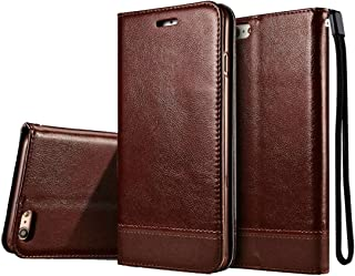 2018 Phone Covers for iPhone 6 & 6s Double-Sided Absorption Splicing Horizontal Flip Leather Case with Holder & Card Slots & Lanyard (Color : Brown)