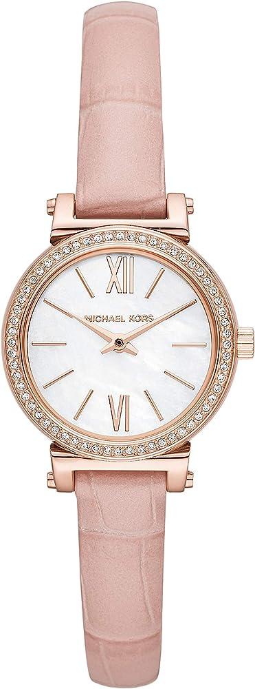 Michael kors, orologio per donna,cassa in acciaio,cinturino in pelle,e lunetta con cristalli MK2715