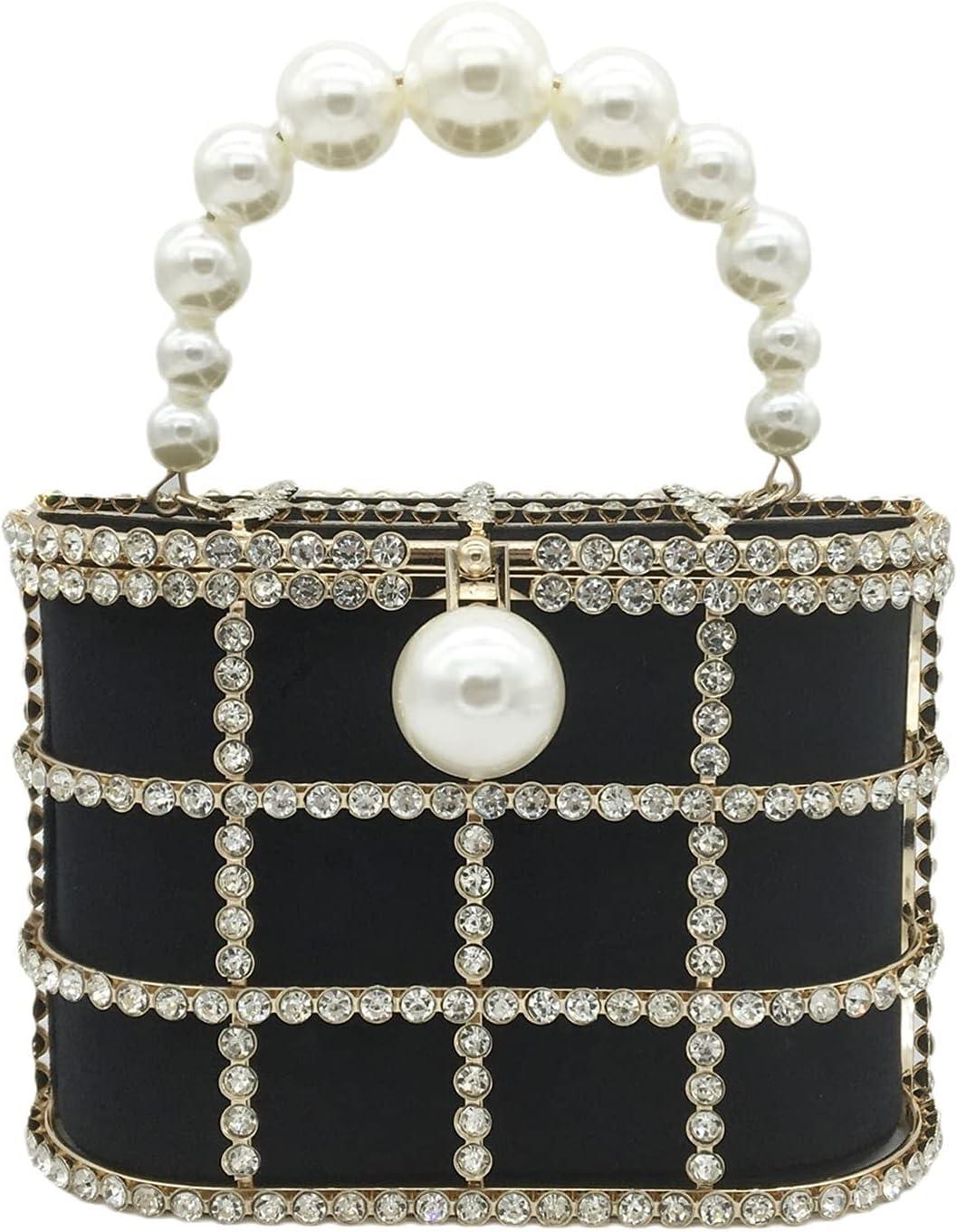 Evening Clutch Bag Evening Bags Diamonds Basket Clutch Bag Women Luxury Pearl Beaded Handbags Wedding Party Purse (Color : Black, Size : Small)
