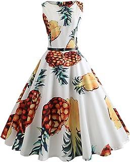0febefe83f4c Women s Sleeveless Midi Summer 50s Vintage Dresses with Belt