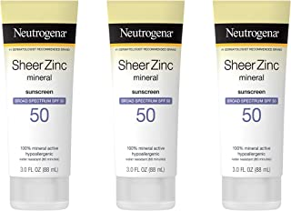 Neutrogena Sheer Zinc Oxide Dry-Touch Mineral Sunscreen Lotion, Broad Spectrum SPF 50 UVA/UVB Protection, Water-Resistant,...