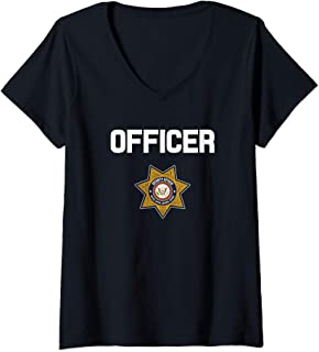 Womens Security Officer Enforcement Badge Police Guards Uniform V-Neck T-Shirt