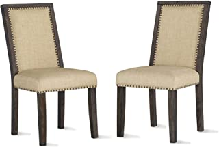Dorel Living Lanley Nail Heads, Beige, Rustic Brown 2 Pack Dining Chair,