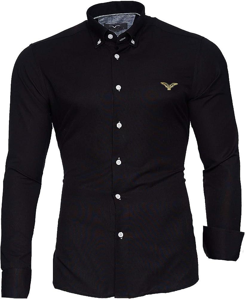 Kayhan originale  camicia slim fit maniche lunghe per uomo , 80% cotone, 20% poliestere A-Oxford-0016A