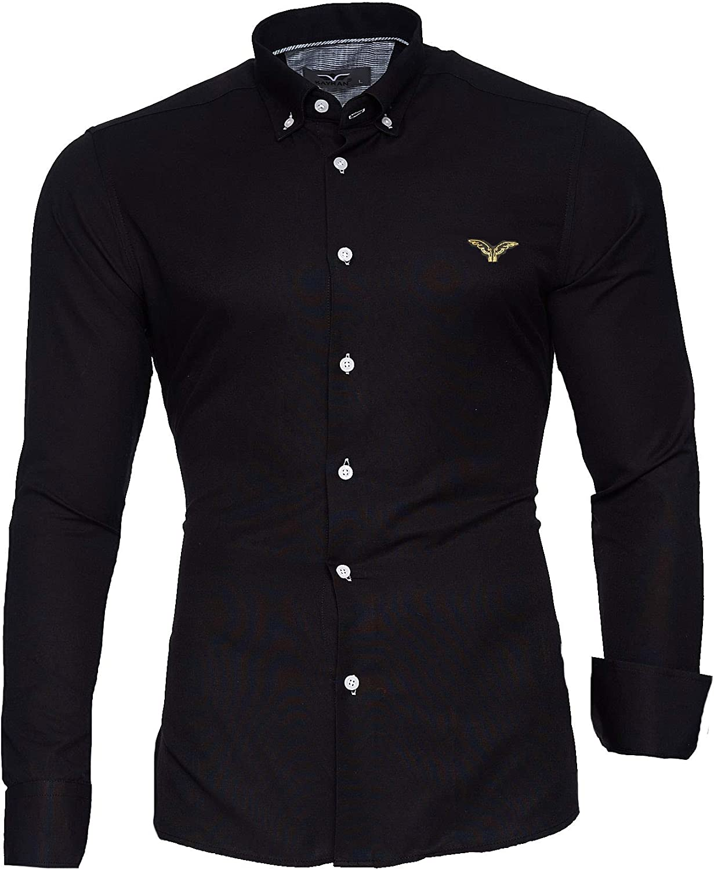 Kayhan Camisas Hombres Camisa Hombre Manga Larga Ropa Camisas de Vestir Slim fácil de Hierro Fit S M L XL XXL-6XL Modello - Oxford