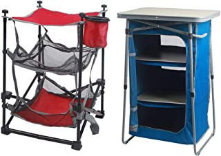 A.T. Products Corp. Ozark Trail 3-Shelf Collapsible Cabinet with Table Top in Blue Bundle with Ozark Trail Three Shelf Folding End Table with Cup Holder in Red