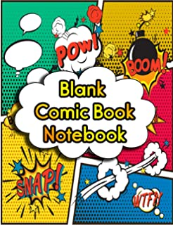 Blank Comic Book Notebook: Large inches (8.5 x 11), 108 pages, comic panel, white Paper, for drawing your own comics, idea...