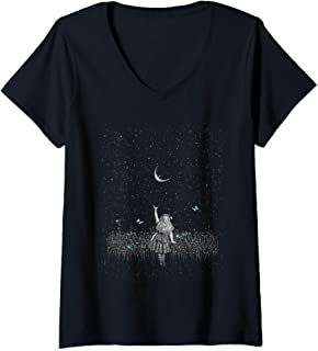 Womens Wonderland Smiling Starry Night - Alice In Wonderland V-Neck T-Shirt