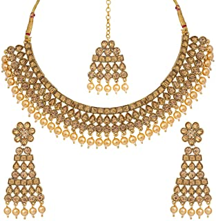 Aheli Ethnic Bollywood Faux polki with Pearl Strand Necklace Earrings Maang Tikka Indian Jewelry Set for Women