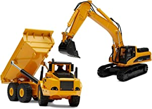 Top Race Diecast Metal Construction Trucks, Heavy Metal Excavator and Dump Truck, Free Wheeler Die Cast Construction Toys, Set of 2