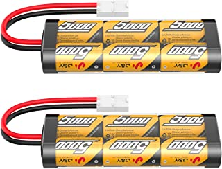 Flylinktech 2 Pack 7.2V 5000mAh NiMH RC Car Rechargeable Batteries for RC Cars,Electric Rc Monster Trucks,Traxxas, LOSI, Associated, HPI, Tamiya, Kyosho with Tamiya Connectors