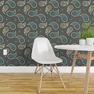 Spoonflower Peel and Stick Removable Wallpaper, Brown Paisley Teal Cream Retro Vintage Beige Blue Decorative Fern Filigree Floral Print, Self-Adhesive Wallpaper 24in x 108in Roll