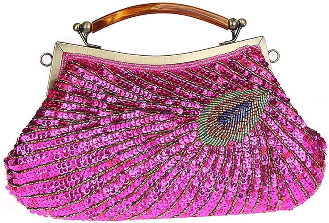 Luckywe Women Fashion Clutch Purse Organizer Wallet Handbag Peacock Beaded Evening Bridesmaid