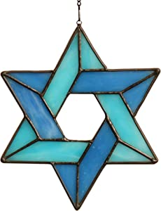 HAOSUM Jewish Star Stained Glass Window Hanging,Star of David Hanging Suncatcher for Window,Family Guardian Hanging Ornament (Blue)( 6.9