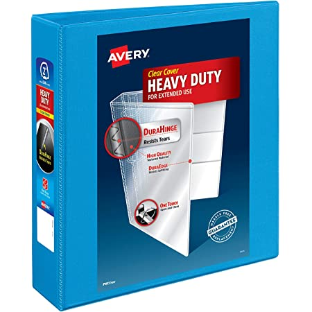 """Avery Heavy-Duty View 3 Ring Binder, 2"""" One Touch Slant Rings, Holds 8.5"""" x 11"""" Paper, 1 Light Blue Binder (05501)"""