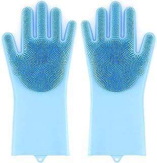 ShawFly Guantes para Lavar Platos Guantes de Silicona Reutilizables para Limpieza, lavavajillas para Lavar Platos, Cocina, automóvil, baño, Cuidado del Cabello para Mascotas y más (Azul)