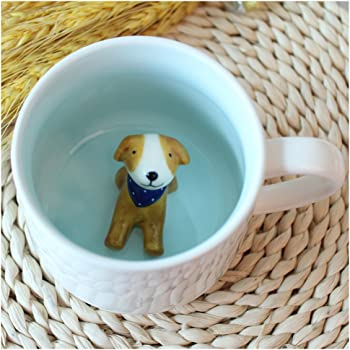 3D Coffee Mug Animal Inside 12 oz with Dog, Cute Cartoon Handmade Figurine Home Ceramics Cups Morning Mugs