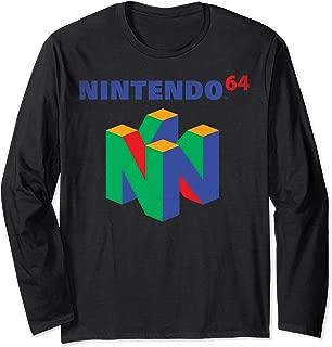 Nintendo 64 Classic Logo Retro Vintage Long Sleeve Tee
