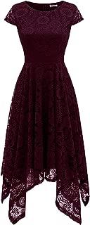 Women's Floral Lace Cap Sleeve Handkerchief Hem Cocktail Party Swing Dress