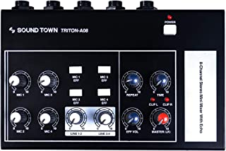 """Sound Town 8-Channel Stereo Microphone Mixer with 1/4"""" Inputs and Outputs, Echo Effect, Delay Time and Depth Controls (TRITON-A08)"""