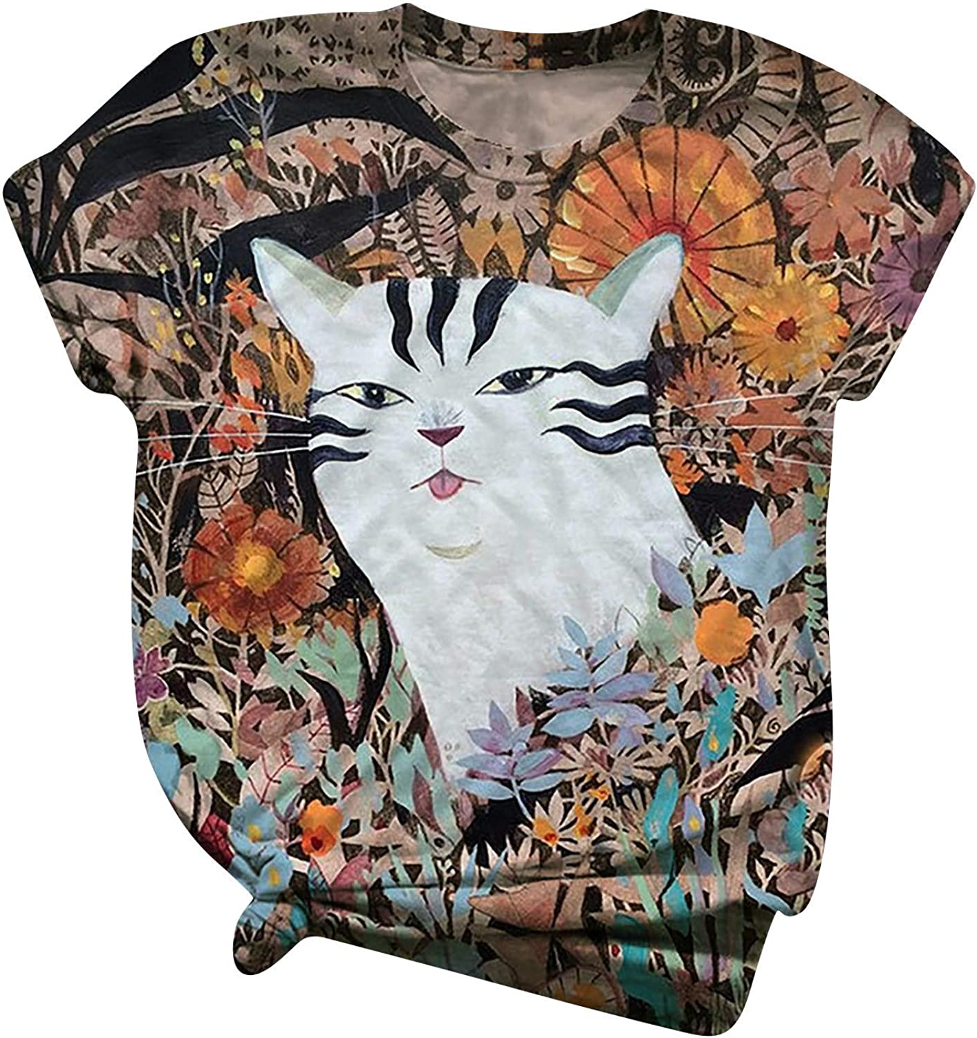 Women Short Sleeve Graphic Tshirts, Women's Crew Neck Vintage Cat Printed Summer Girls Casual Top Tee Shirt Blouse Tunic