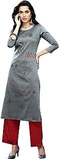 ladyline Designer Kurtis with Pants Set for Womens Indian Tunic Tops Kurta