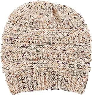 Wiwsi Knit Winter Warm Beanies Hats Women Ponytail Visor Confetti Beanie Caps