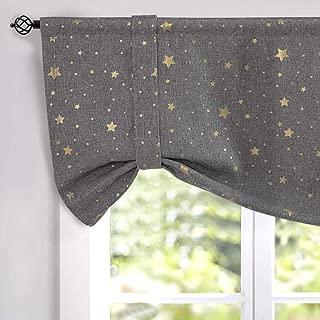 jinchan Faux Linen Textured Curtain Valance Gold on Flax Star Design Room Darkening Window Valance Rod Pocket Living Room 1 Panel 18
