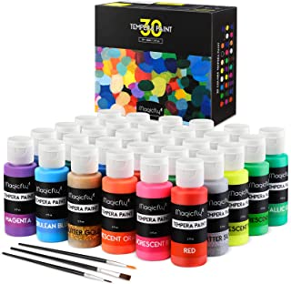 Best Washable Tempera Paint for Kids, Magicfly 30 Colors (2 oz Each) Liquid Poster Paint, Non-Toxic Kids Paint with Fluorescent Glitter Metallic Neon Colors for Finger Painting, Hobby Painters Review