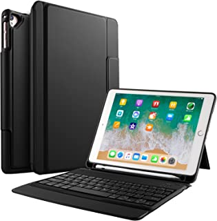 Apple New iPad 9.7 Teclado Estuche [Teclado QWERTY], IVSO Bluetooth Keyboard Case Funda Ultra fino Slim SmartShell con Magnético Desmontable Teclado Bluetooth Inalámbrico Utilizando Altura ajustable para Nuevo Apple iPad 9.7 2018/ 2017 Tablet (Negro)