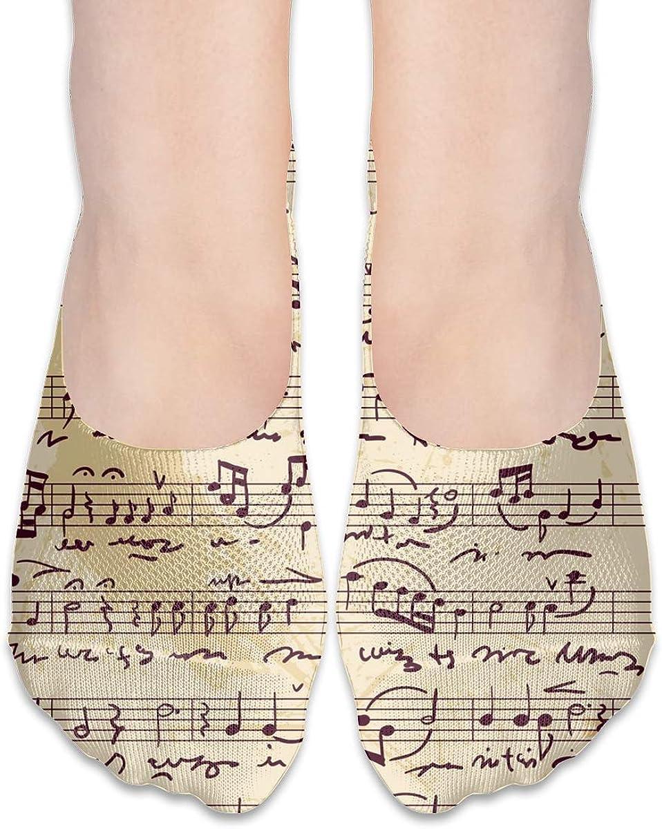 No Show Socks Women Men For Musical Score Written Manually Flats Cotton Ultra Low Cut Liner Socks Non Slip