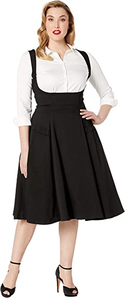 Plus Size 1950s High-Waisted Amma Suspender Swing Skirt