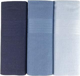 Warwick & Vance Pack Of 3 Mens/Gentlemens Blue Dyed Handkerchiefs With Satin Stripe Borders, 100% Cotton, 40 x 40cm
