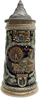 German Carnival Collectible Ceramic Beer Stein with Ornate Metal Lid