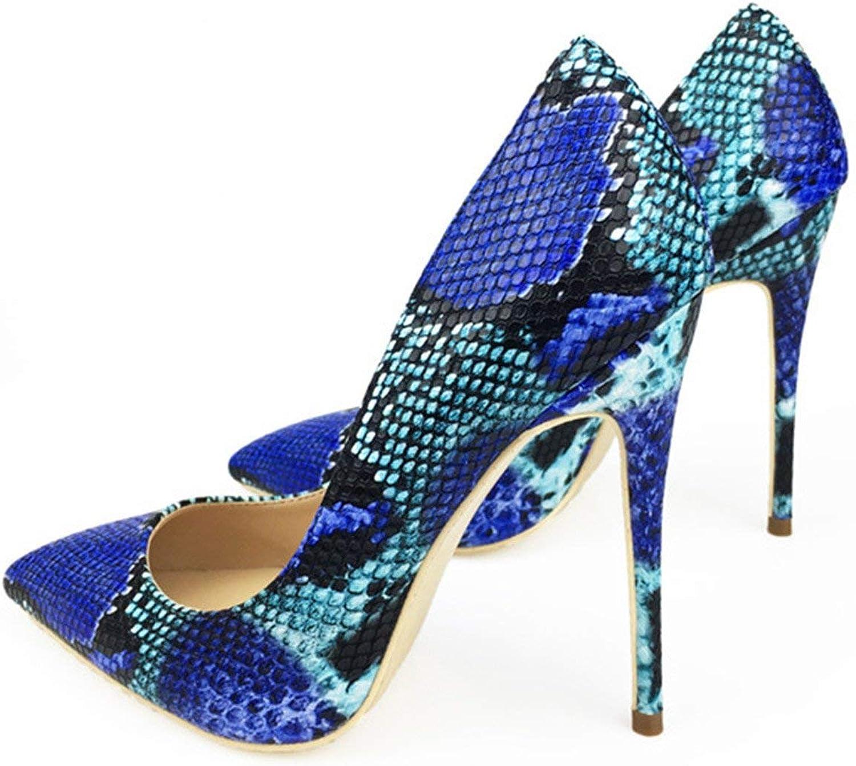 High end 2018 Women shoes bluee Snake Printed Sexy Stilettos High Heels 12cm 10cm 8cm Pointed Toe Women Pumps,4.5B(M) US,12cm Heels