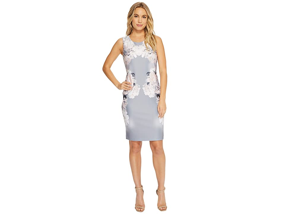 Calvin Klein Printed Sheath Dress (Tin/White) Women