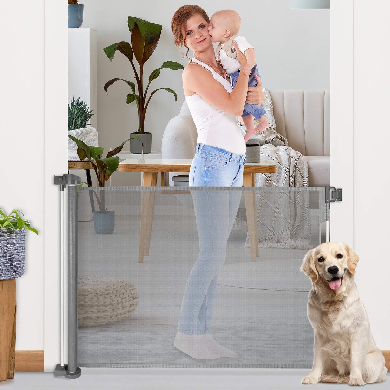 Retractable Baby Gates Grey Mesh Safety Dog Gate 35