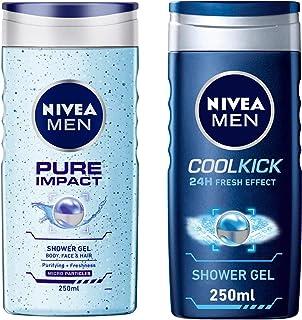 NIVEA Men Shower Gel, Pure Impact Body Wash, 250ml And NIVEA Men Shower Gel, Cool Kick Body Wash, 250ml
