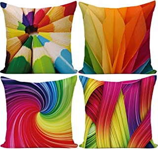 Wilproo 20 x 20 inches Rainbow Colorful Cushion Covers Abstract Crayon Throw Pillow Case Cover Set of 4 (Colorful) for Sofa Car Cousion Bed