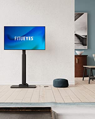 FITUEYES Swivel Floor TV Stand for 32 to 65 Inch TVs Tall Universal TV Stand Mount with Sturdy Wood Base, Space Saving for Co