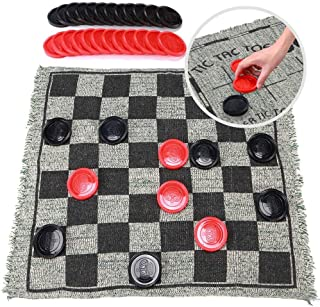 OleOletOy Super Tic Tac Toe and Giant Checkers Set Board Game with 24 Checker Pieces Reversible Rug, Classic Indoor and Ou...