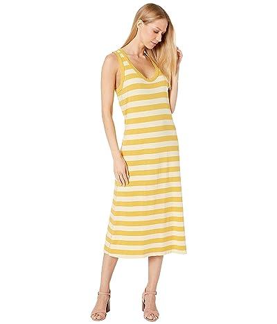Michael Stars Ruby Stripe Valerie Racerback Midi Dress (Lemon Zest Multi) Women