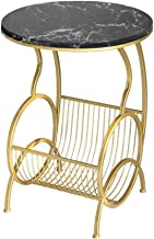 Living Room Furniture Metal Round Marble Side Table, Gold Metal Storage Frame, Wrought Iron Bedroom Bedside Sofa Coffee Ta...