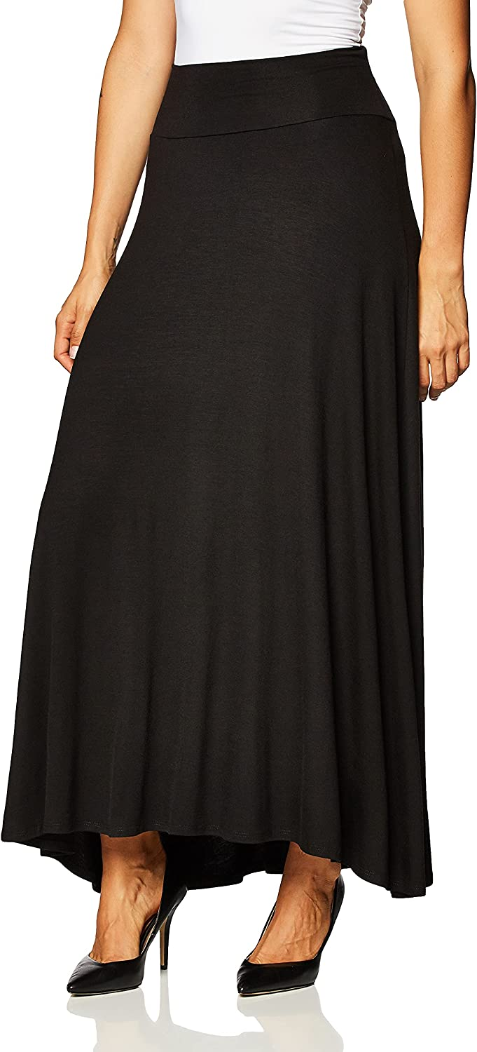 AGB Women's Soft Knit Maxi Skirt (Petite, Standard and Plus Sizes)
