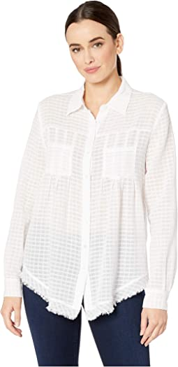 Sheer Bliss Button Front Shirt with Pocket Detail