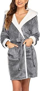Womens Hooded Bathrobe Fleece Robe Super Soft Plush Robe Velour Bathrobe