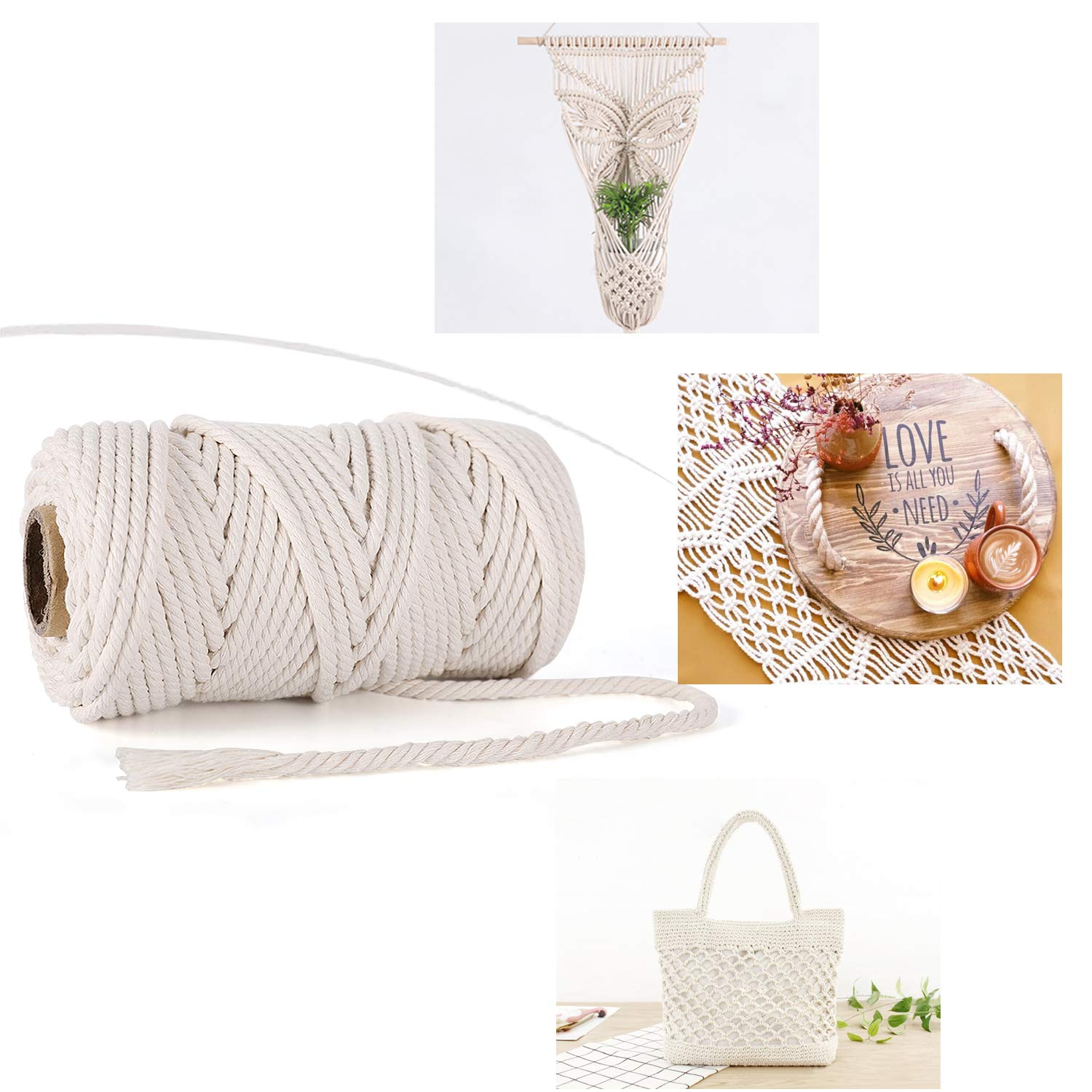 GoMaihe Macrame Cord 5mm x 328 ft Beige Home Bedroom Living Room Decorations 4-Strand Twisted Soft Unstained Cotton Rope for Plant Hanger Wall Hanging Knitting Craft Beginners